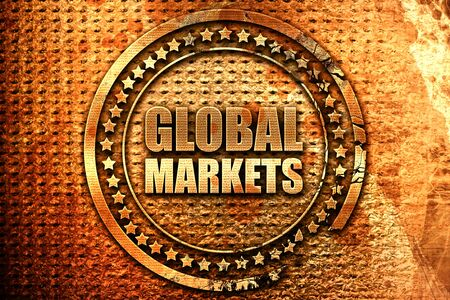 product information: global markets, 3D rendering, grunge metal text