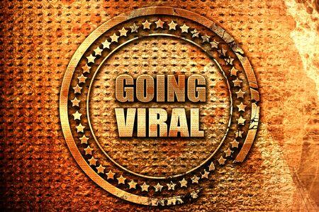 going viral, 3D rendering, grunge metal text