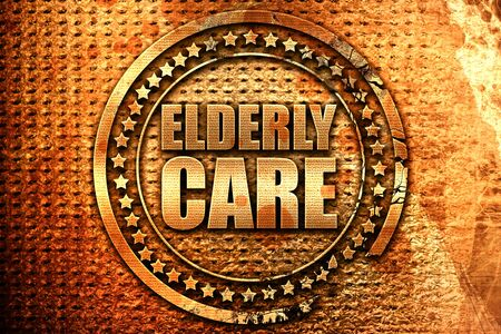 physical impairment: elderly care, 3D rendering, grunge metal text