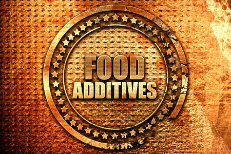 food additives, 3D rendering, grunge metal text