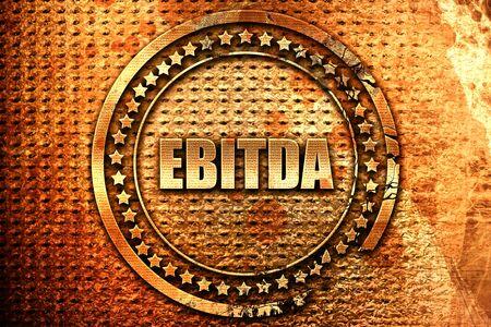 ebitda, 3D rendering, grunge metal text