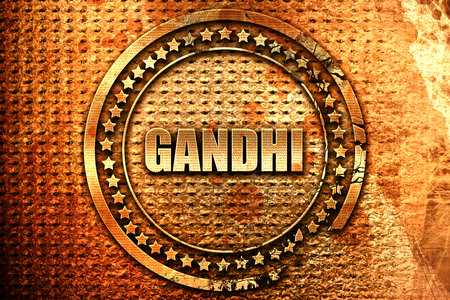gandhi, 3D rendering, grunge metal text