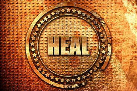 heal, 3D rendering, grunge metal text Stock Photo