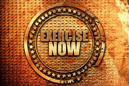 persistence: exercise now, 3D rendering, grunge metal text Stock Photo