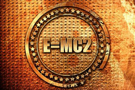 e=mc2, 3D rendering, grunge metal text