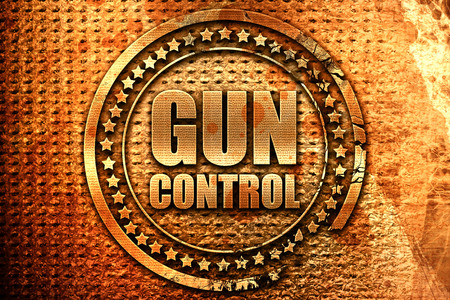 gun control, 3D rendering, grunge metal text
