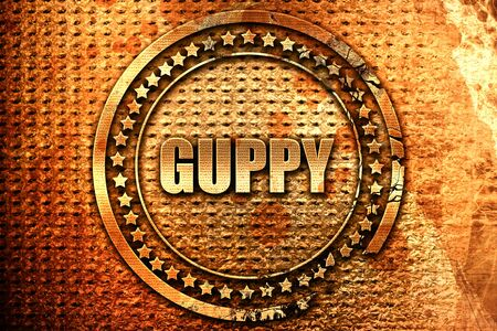 guppy, 3D rendering, grunge metal text Stock Photo