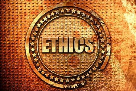 ethos: ethics, 3D rendering, grunge metal text