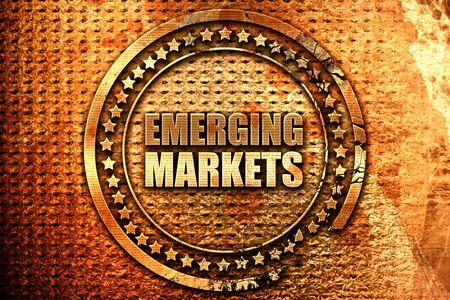 emerging markets, 3D rendering, grunge metal text Stock Photo