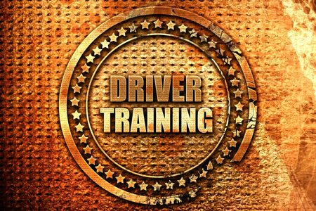 drivers license: driver training, 3D rendering, grunge metal text