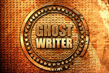 ghost writer, 3D rendering, grunge metal text Stock Photo