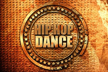 3d dance: hip hop dance, 3D rendering, grunge metal text