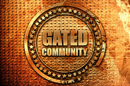 gated community, 3D rendering, grunge metal text Stock Photo