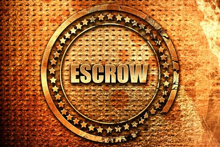 escrow, 3D rendering, grunge metal text Stock Photo