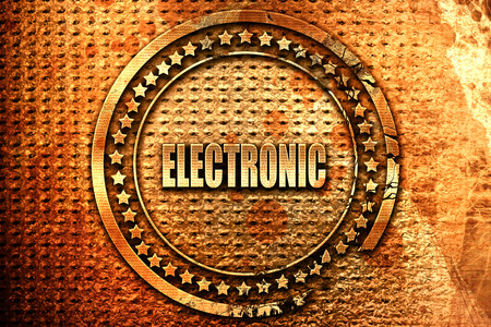 electronic music, 3D rendering, grunge metal text Archivio Fotografico