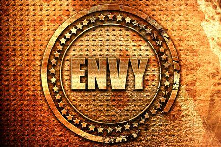 celos: envy, 3D rendering, grunge metal text