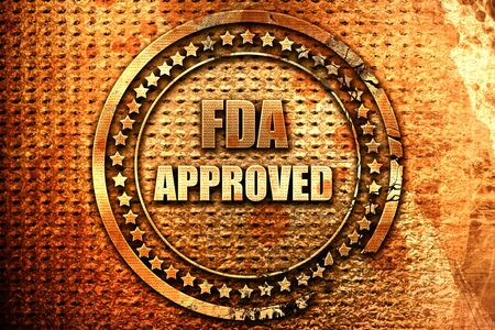 FDA approved background with some smooth lines, 3D rendering, grunge metal text