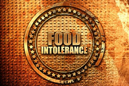food intolerance, 3D rendering, grunge metal text