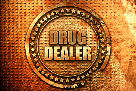 drug dealer, 3D rendering, grunge metal text Stock Photo