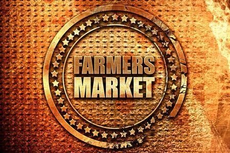 farmers market, 3D rendering, grunge metal text Stock Photo