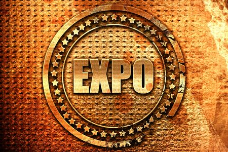 expo, 3D rendering, grunge metal text Stock Photo