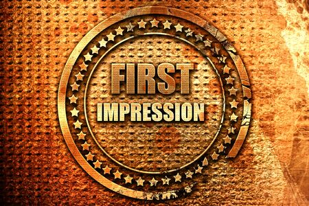 first impression, 3D rendering, grunge metal text Stock Photo