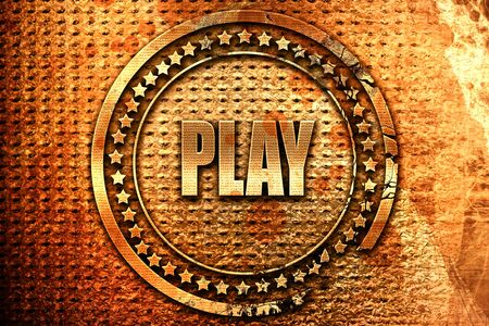 play, 3D rendering, grunge metal text