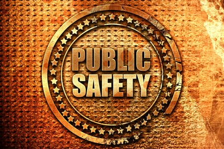 public safety, 3D rendering, grunge metal text Stock Photo