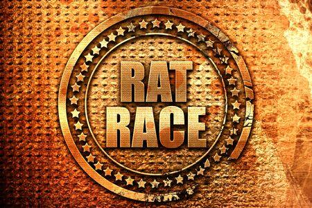 rat race, 3D rendering, grunge metal text Stock Photo