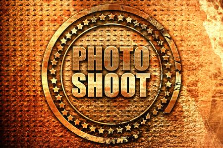 photo shoot, 3D rendering, grunge metal text Stock Photo