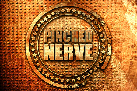 latent: pinched nerve, 3D rendering, grunge metal text