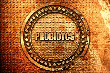 probiotics, 3D rendering, grunge metal text