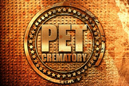 prestigious: pet crematory, 3D rendering, grunge metal text Stock Photo