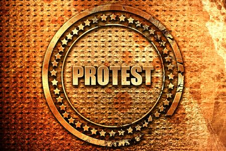 protest, 3D rendering, grunge metal text