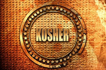 Delicious kosher food with some soft smooth lines, 3D rendering, grunge metal text