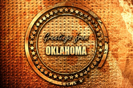 oklahoma: Greetings from oklahoma with some smooth lines, 3D rendering, grunge metal text Stock Photo