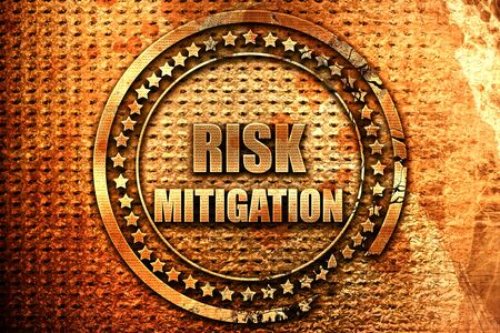 mitigation: Risk mitigation sign with some smooth lines and highlights, 3D rendering, grunge metal text