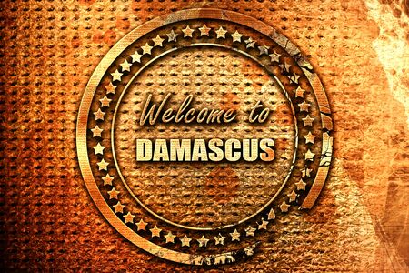 Welcome to damascus with some smooth lines, 3D rendering, grunge metal text Stock Photo