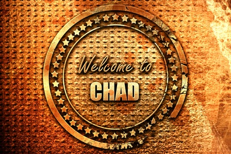 Welcome to chad card with some soft highlights, 3D rendering, grunge metal text Stock Photo