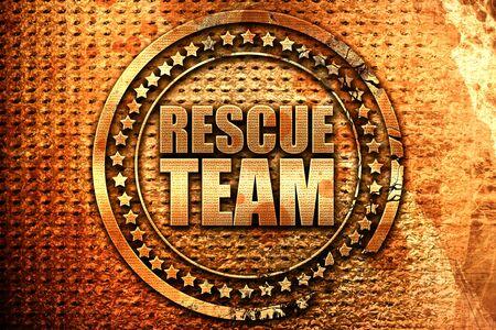 paciente en camilla: rescue team, 3D rendering, grunge metal text