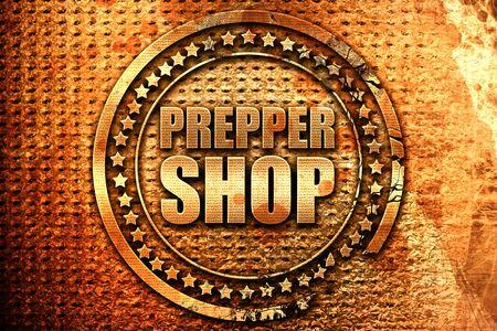 prepper shop, 3D rendering, grunge metal text Stock Photo