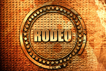 rodeo, 3D rendering, grunge metal text
