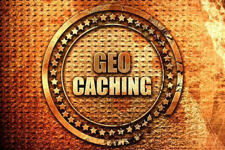 caching: geocaching sign background with some soft smooth lines, 3D rendering, grunge metal text