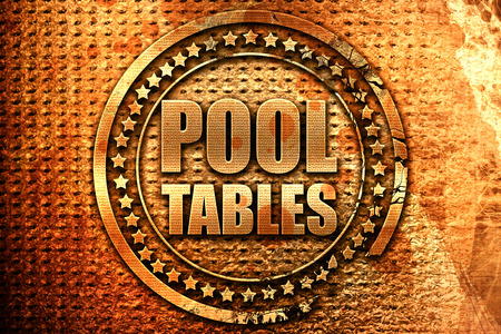pool tables, 3D rendering, grunge metal text Stock Photo