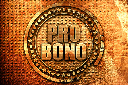 trouble free: pro bono, 3D rendering, grunge metal text