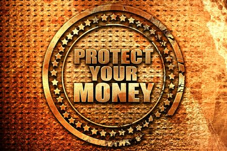 protecting your business: protect your money, 3D rendering, grunge metal text Stock Photo