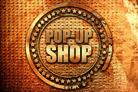 pop-up shop, 3D rendering, grunge metal text