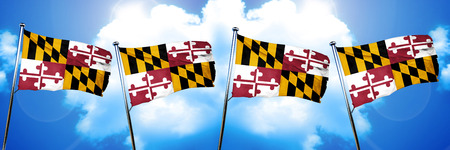 maryland flag: maryland flag, 3D rendering, on a cloud background