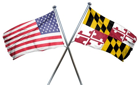 maryland flag: maryland and USA flag, 3D rendering, crossed flags Stock Photo