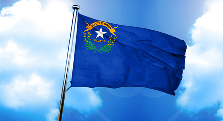 nevada flag, 3D rendering, on a cloud background